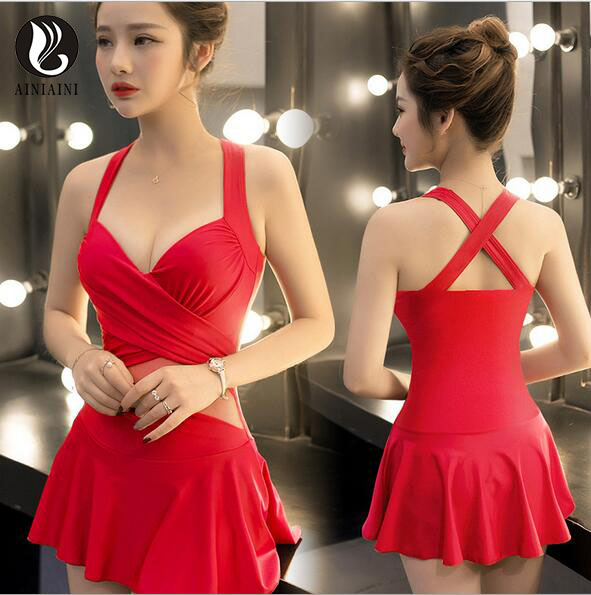 Red Black Womens Swimsuits Underwire Padded Cross Top Mesh Perspective Waist Bikini Pleated Skirt Two Piece Set pd94 <br>