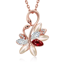 Czech Drill Italy designer fashion jewelry brand pendant necklace for women couple swan love heart design for lovers gift