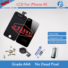 Black Touch Screen Digitizer LCD + Glass Back Housing Cover + Home Button Replacement part For iPhone 4s &Screw Tools & Freeship