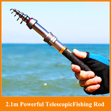 Hot!!New 2.1m 11 sections powerful telescopic fishing rod sea ultra light hand rod lure rod spinning fishing rod