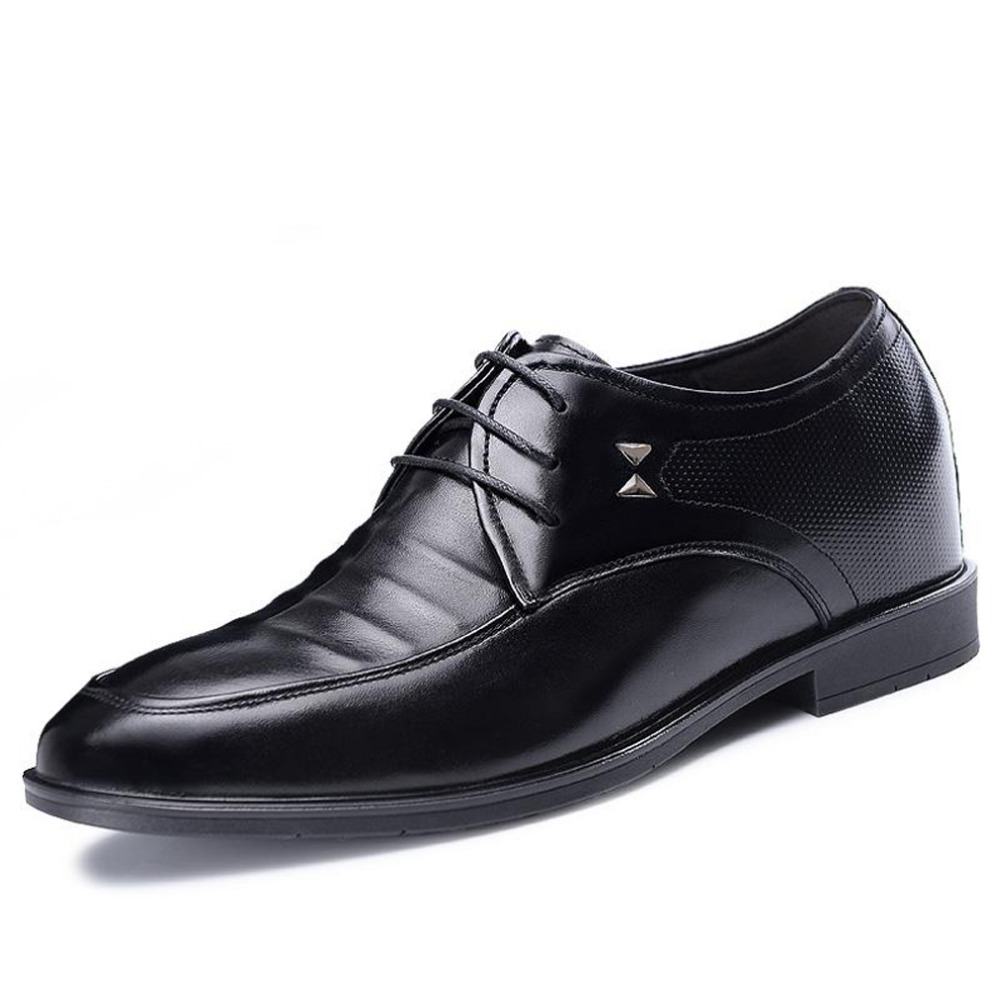 Mens 3.15 Inch Taller Genuine Leather Height Increasing Dress Wedding Shoes-Black/Brown Lace Up Derby shoes G516705<br><br>Aliexpress