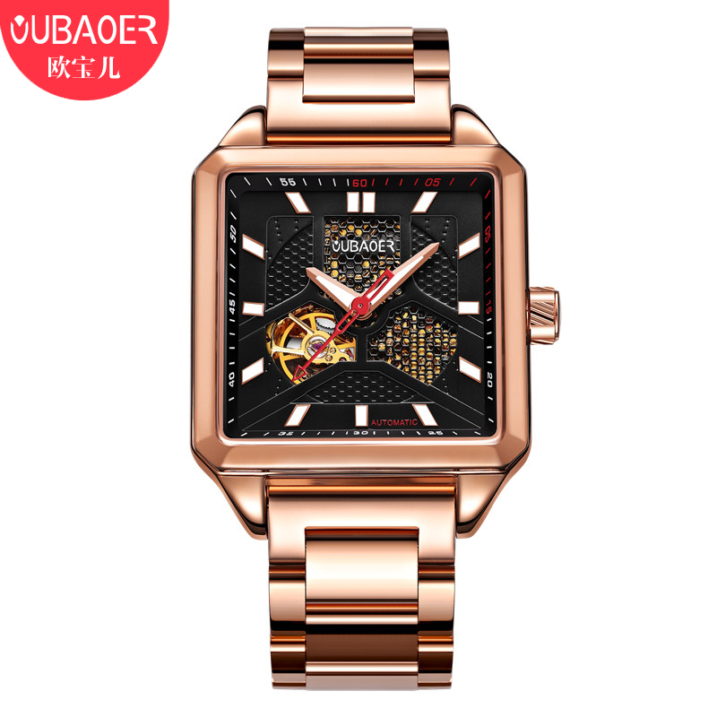 OUBAOER Rectangle Dress Watch Men Full Steel Clock Men Tourbillon Mechanical Watch Automatic Mens Watches New Horloges Mannen<br>