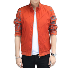 5XL  fashion spring autumn mens jackets coats orange green color bomber jacket silm Mandarin Collar Patchwork coats  MA184