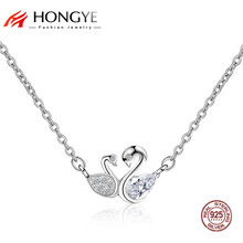 HONGYR Elegant Charms Jewelry Full Crystal Clear CZ Cute Couple Swan Necklaces Chokers 2017 Friend 925 Sterling Silver Jewelry