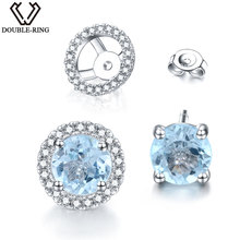 DOUBLE-R 1.76 Ct Genuine Round Natural Blue Topaz Women Earrings Solid 925 Sterling Silver Stud Earrings fine Jewelry for women(China)
