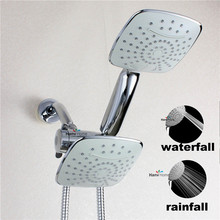 2  Function Chrome HandHeld Shower Head  & 3 way diverter & Brass Shower arm &150cm shower hose bathroom  hand shower set