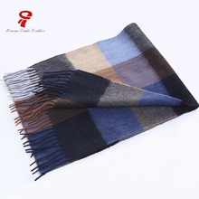 silk scarf 100% Silk Satin Long soft warm plaid winter stripe scarf for men luxury brand retro fashion Business Casual scarf(China)