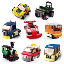 Enlighten Classic building blocks set of traffic vehicles series / truck train taxi coach racing car Jeep(China)