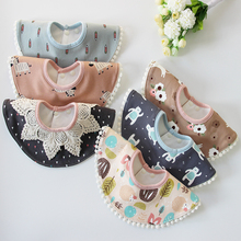 Baby Bib Knitting Cotton TPU Waterproof Baby 360 Degree Lace Bibs Children Infant Saliva Towels Cartoon Bandana 0-6 years(China)
