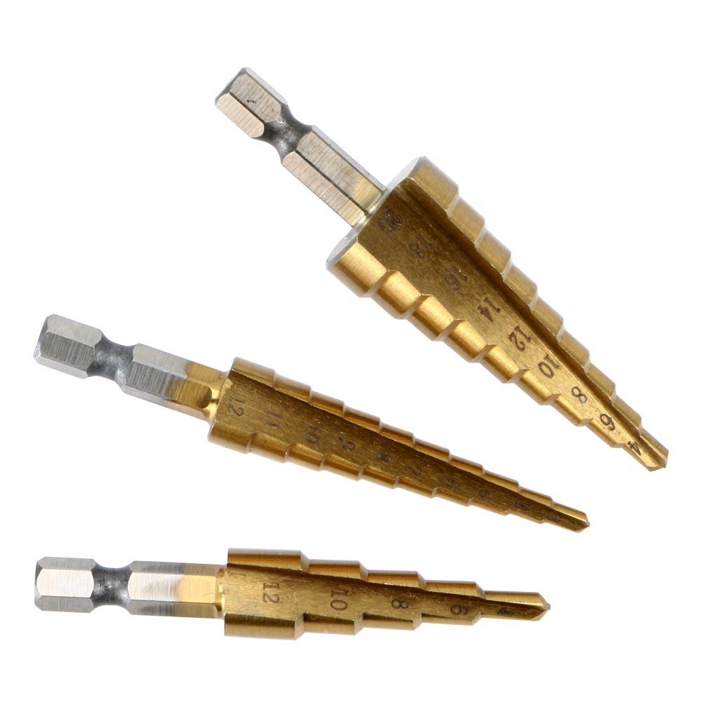 3pcs HSS Metric Titanium Coated Step Drill Bit Set 3-12mm 4-12mm 4-20mm Woodworking Wood Metal Drilling Cutting Tools