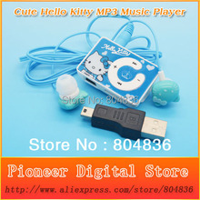 Hot Sell 10pcs/lot Hello Kitty Christmas Gift MP3 Music Player Support Micro TF Card With Kitty Earphone&Mini USB Free Shipping
