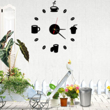 2016 New Creative Coffee Relaxation Designer Wall Clocks 3D Acrylic Home Decoration Wall Stickers Brief Quartz Clock