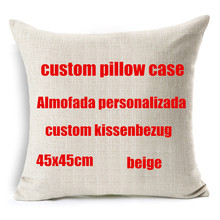 45cm Your image here printed custom cushion cover Wedding Pets Personal Photos cotton linen decorative pillow case funda cojines