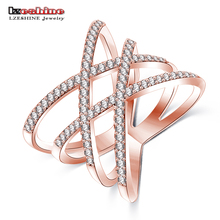 LZESHINE 2017 Fashion Rings for Women Double Cross X Shape Exquisite Ring Zirconia Micro Paved Silver Color Jewelry CRI1029-B(China)