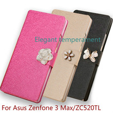 High Quality Luxury Leather Flip silicone  back Cover Case for Asus Zenfone 3 Max ZC520TL mobile phone case With Stand