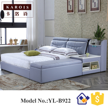 B922 home bedroom furniture latest leather soft bed with storage drawers(China)