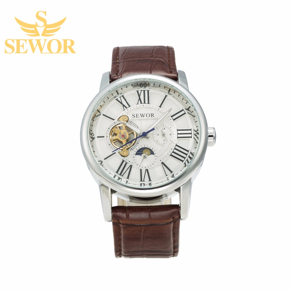 2017 SEWOR Top Brand Luxury 12 Hours 24 Hours Dual Display  Mens Automatic Phase moon Mechanical Watch  Milky white C314<br><br>Aliexpress