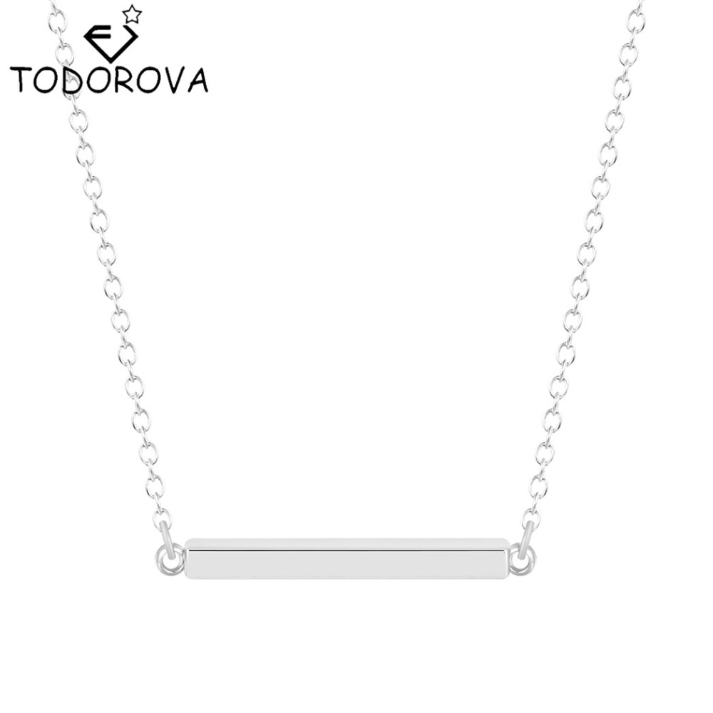 Todorova 10pcs Women Fashion Jewelry Wholesale Gold Silver Tone Blank Bar Charm Pendant Necklace Chain for Buyer Own Engraving(China)