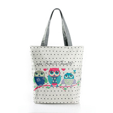 2017 New Naivety Casual Women Bag Cute Owl Printed Canvas Tote Portable Shopping Bags Bolso De Compras Zipper Handbags
