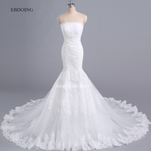 Buy Vestidos De Novia Real Photo Wedding Dress 2017 Ivory Mermaid Strapless Robe De Mariage Wedding Gowns Lace Appliques for $216.00 in AliExpress store
