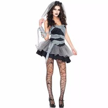 2017 Hot Sexy Black Vampire Costume Halloween Costumes for Women Ghost Bride Costumes for Party Dress