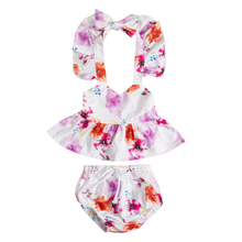 Baby Girl Clothes Set Colorful Beautiful Print 2PCs Lovely Newborn Infant Baby Girls Clothes Tops+Pants Floral Outfits Kids Set(China)