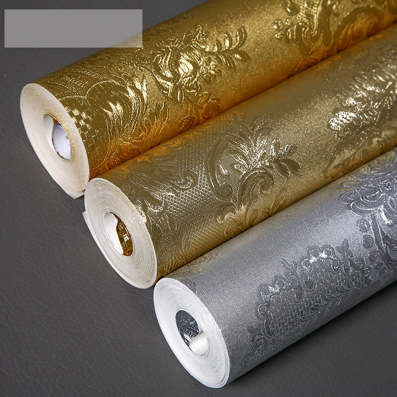 beibehang luxury wallpaper European - style wall paper Damascus gold foil papel de parede silver foil TV background wall<br>