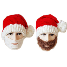 New Crochet Red Santa Claus Hat Knitted Winter Beanie with Beard Christmas Funny Cosplay Hat(China)