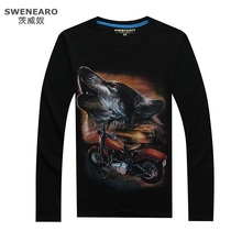 SWENEARO Moto &Wolf 3D Print Male Shirt Kanye West Printed Men T Shirt Long Sleeves Men's Tshirt Casual T-shirt For Men Street(China)