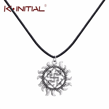 Kinitial 1Pcs Valkyrie Symbol Viking Scandinavian Amulet Pendant Necklace Charm Black Leather Chain Necklaces for Women Collier
