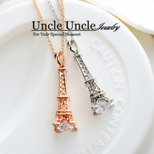 The Eiffel Tower of Paris Design!!!White Gold Color Zircon Champs Elysees Kiss Lady Pendant Necklace Wholesale(China)