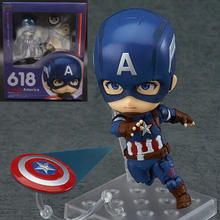Captain America Figure Steven Rogers figures  Nendoroid Action Collectible Model Toys colloection PVC 10cm with box T7010
