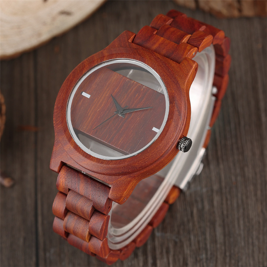 Different color Creative Fashion Casual Sport Simple analog Hollow Bamboo Wooden Men Unique Handmade Wood Quartz Wristwatch+Gift Bags (28)
