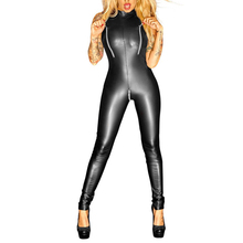 Buy Plus Size Sexy Bodysuit Faux Leather Night Club Sexy Lingerie Women Female Latex PVC Catsuit Zipper Crotch Erotic Body Stocking