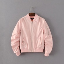 Women short coat ladies bomber jackets Solid 9 color full lined loose overcoat 2016 hot sale female casual twill white pink blue