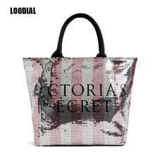 Loodial New 2017 New Fashion Women Handbags Pink Sequins Large Canvas Totes Bag Letters Shoulder Bags for Women Top-handle Bags(China)