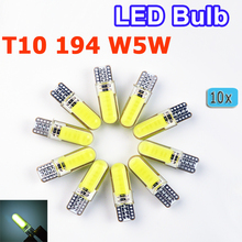 flytop 10 x Car LED Silicone Small Lights T10 194 W5W COB White Light Car-styling Blue Red Yellow Green Pink Crystal Blue Color(China)