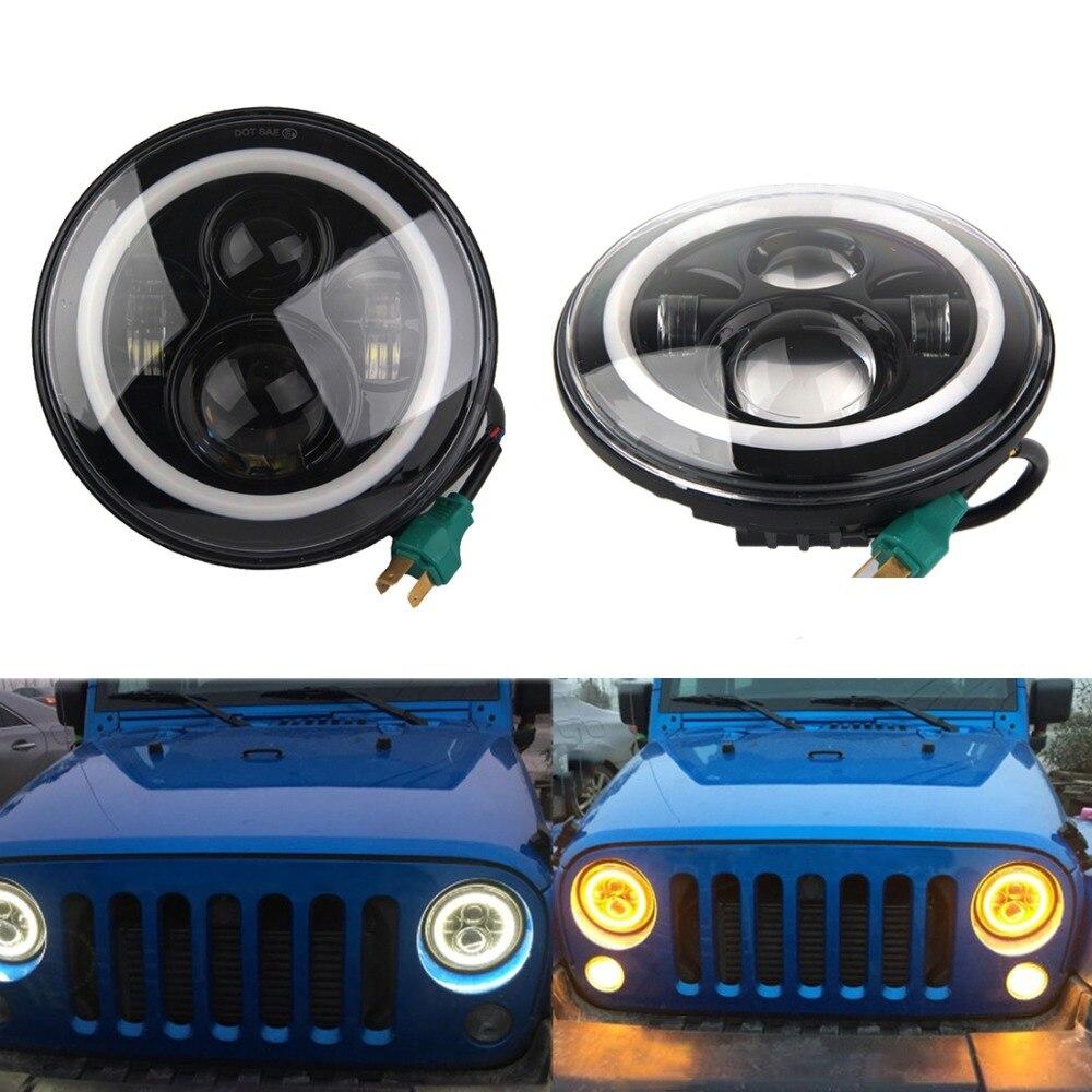 7 Inch LED Halo Headlights Angel Eye For Jeep Wrangler JK CJ  Daymaker with Halo &amp; DRL &amp; Turn Signal Lights 40W for Jeep JK LJ<br><br>Aliexpress