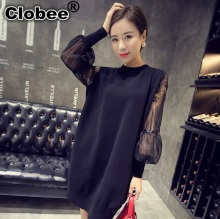 Spring new arrival high quality women lace dress patchwork plus size Lantern Sleeve round neck black sexy club wear dress WD100