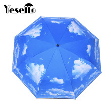 Yesello Blue Sky White Cloud UV Protection Inverted Folding Umbrella Windproof Auto Open & Close Parasol