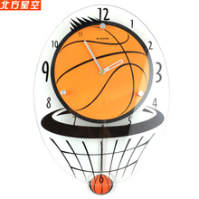 Lovely children's creative fashion watch basketball watch cartoon character mute living room wall clock clock swing decoration(China)