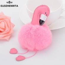 PU leather Flamingo Pom Charm Key Chains Pink & White Fur ball Purse Accessories Handbag Ornamet Gift Keychain DIY New