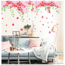 % 237x92cm Pink Flower green leaves waterproof self-adhesive wall stickers home decor for girls rooms living room PVC wall paper