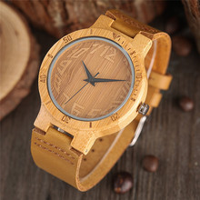 Novel Bamboo Watches Creative Genuine Leather Band Wristwatch 2017 New Men Quartz Nature Wooden Watch Handmade Clock Fashion