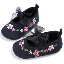 Beautiful Embroidered Flower Girl Baby Shoes Infant Spring Summer Casual Crib Footwear Kids Lace Butterfly-knot Soft Sole Shoes
