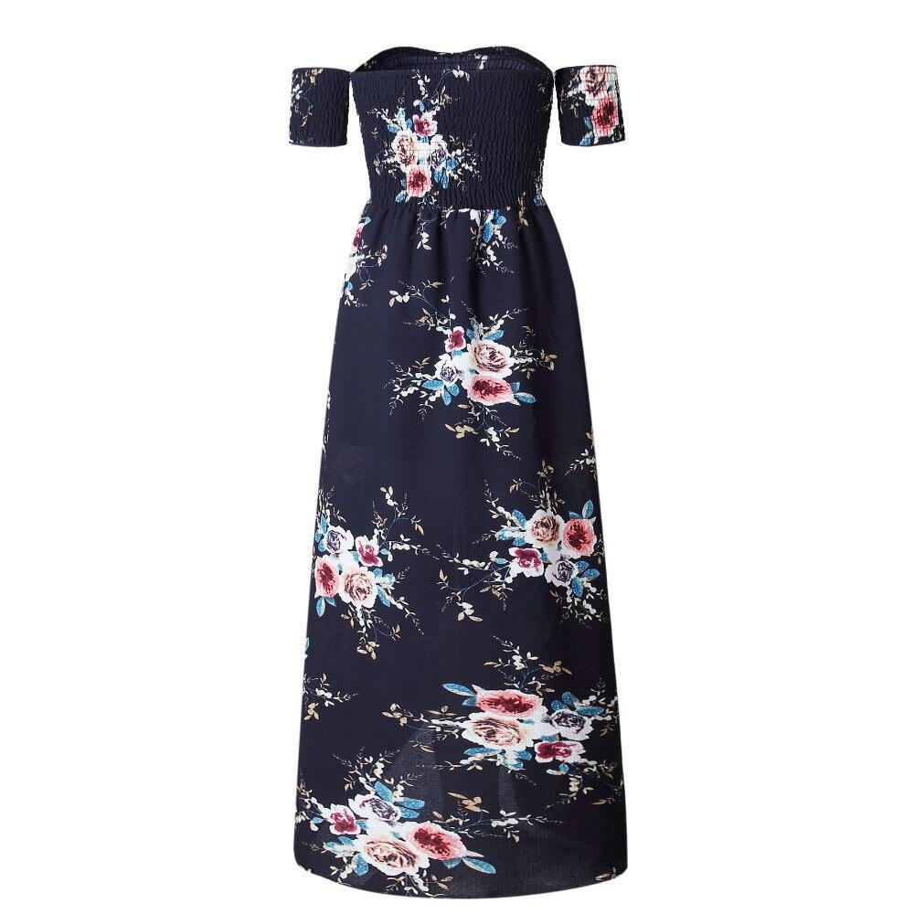 LOSSKY Off Shoulder Vintage Print Maxi Summer Dress 8
