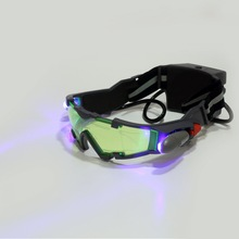 1Pcs Glasses eyeshield Green Lens Adjustable Elastic Band Night Vision 25 Feet Goggles LED Lights Dark Eyewear Drop Shipping(China)