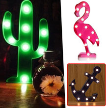 LED Cactus Boat Anchor Flamingo Baby Kid Night Light Lamp Home Decor Lighting Veilleuse