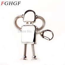 FGHGF real capacity Stainless  cool Metal robot USB Flash Drive 16GB 32GB Mini Doraemon U Disk Pen drive Chain Newest