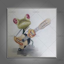 Adorable Frog Playing Guitar Home Decor Lovely Animal Picture Pure Handmade Oil Painting Modern Art For Room Decor On Canvas(China)
